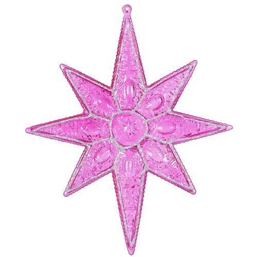 Magenta Sculpted 8 Point Star Christmas Holiday Shaped Ornament