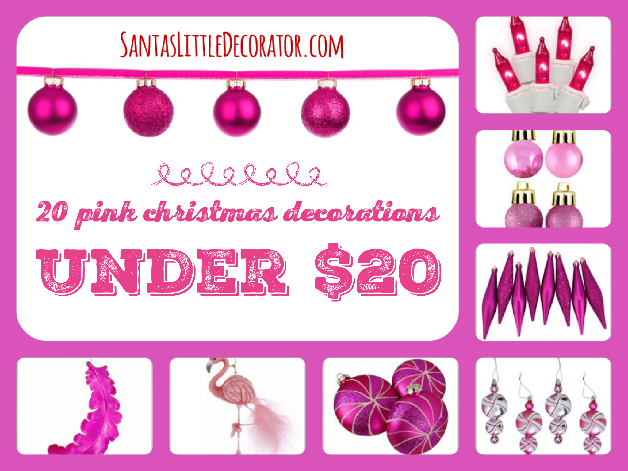 20 Pink Christmas Tree decorations Under $20